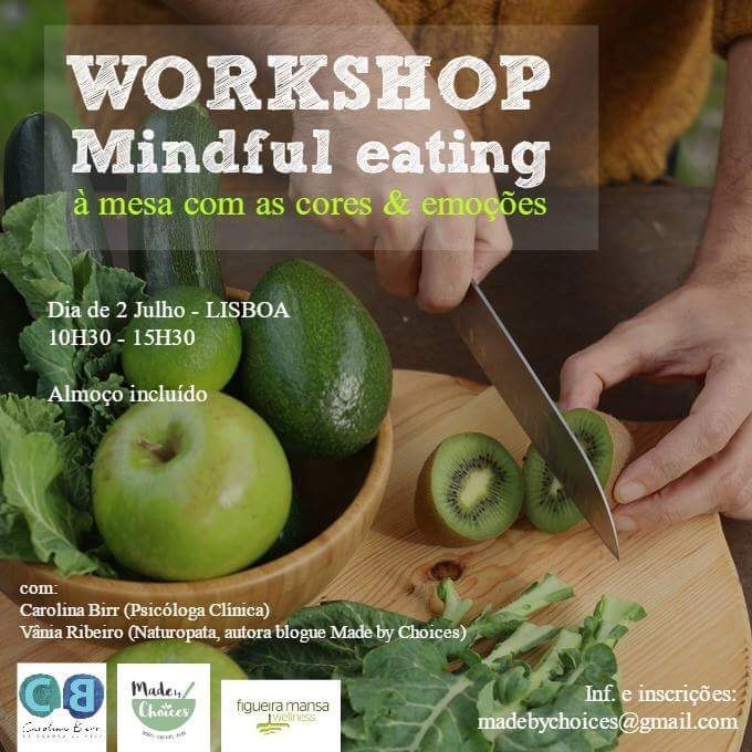 A mesa com as Cores & Emoções: Workshop de Mindful Eating